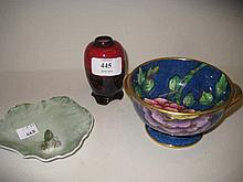 Small Royal Doulton baluster form flambé vase decorated with a landscape, a Maling two handled pedestal dish decorated with flowers and a Royal Copenhagen trinket dish in the form of a frog on a lily pad