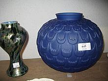 Blue glass bulbous form vase together with another green and gilt waisted glass vase