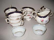 Quantity of Coalport tea ware painted with roses within cobalt blue and gilt borders, together with a small pair of 18th Century Chinese tea bowls (a/f)