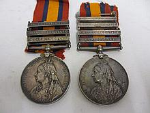 Two Queen Victoria South Africa medals, one with bars South Africa 1901, Orange Free State and Cape Colony, the other with Orange Free State and Cape Colony together with two other bars, South Africa 1901 and 1902, awarded to Trooper F.J. Baker SAG
