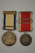 1848 Naval General Service medal with Syria bar, together with a Joan D' Arc medal awarded to H. Baker, Assistant Surgeon