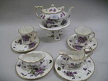 Hammersley Victorian Violets pattern tea service for two