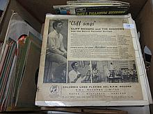 Cliff Richard, signed L.P. ' Cliff Sings ' together with a large collection of early Cliff Richard records