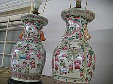Pair of reproduction Chinese Canton style baluster form vases adapted for use as table lamps