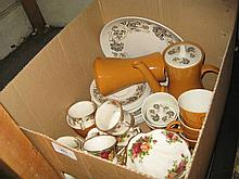 Royal Albert Old Country Roses pattern six place setting tea service together with a Poole Pottery coffee service