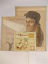 ' The Milk Maid Picture Book ' by R. Caldecott, printed by George Routledge and Sons, another booklet, ' The Poet's Corner ' by Max Beerbohm, unframed coloured engraving, inscribed Archbishop Warham and a folio containing various 18th Century
