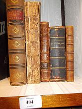 One volume ' The Art of Cookery Made Plain and Easy ' by a lady, new Edition, London 1767 (binding a/f), together with four other various small leather bound books