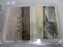 Album containing collection of shipping postcards, including the Titanic