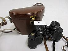 Leather cased pair of Carl Zeiss binoculars