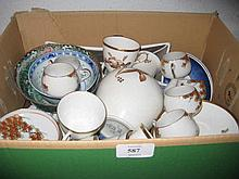 Royal Copenhagen six place setting coffee service decorated with orchids, three small Chinese bowls and other miscellaneous ceramics