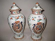 Pair of Samson Chinese export vases with covers (covers a/f)