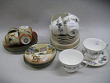 Early 20th Century Royal Doulton Dickens Seriesware part tea set comprising: four cups, four saucers and five side plates together with a Royal Worcester June Garland pattern part tea set