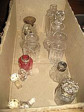 Five early 20th Century silver mounted cut glass perfume bottles and four clear cut glass perfume bottles