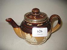 Small Royal Doulton Harvest teapot with a silver rim