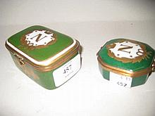 Limoges type trinket box decorated with Napoleonic emblem together with another similar (damaged)