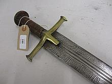 Sudanese sword with brass hilt, leather grip and scabbard