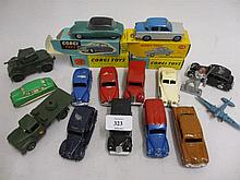 Boxed Corgi toy, Bentley Continental, No. 224 together with similar Aston Martin, No. 218 and Citroen DS19, No. 210, together with a boxed Dinky toy Hilman Minx No. 175 and a quantity of other die-cast metal vehicles etc.