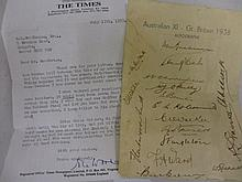 Australian eleven 1938 group of team autographs on headed paper, including Bradman, together with a Times letter on headed paper, signed John Woodcock