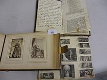 Victorian photograph album, mid 19th Century leather bound cookery book and a small scrap album