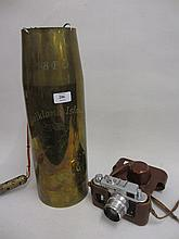 Falkland Islands commemorative shell case / gong together with a Russian 35mm camera