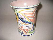 Mid 20th Century Poole Pottery vase painted with stylised floral designs in pink, mauve, yellow, green and blue on a cream ground, 5.75ins high
