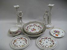 Pair of Franklin Mint bisque Romeo and Juliet figural candlesticks, together with a small quantity of various German porcelain floral decorated ceramics