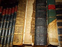 Six part leather bound volumes, pictures from Punch 1894 - 96, large 1875 bible, with full black calf, two volumes ' Dictionary of Painters ' by Matthew Pilkington, 1820 and three volumes ' Memories of General Baron D. Marbot ' 1892