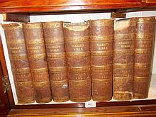 Group of seven leather bound volumes of Clark's Bible, printed for Thomas Tegg and Son, 1836