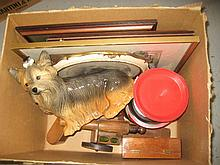 Ice bucket in the form of a Beefeater, a Kingston pottery figure of a Yorkie dog, quantity of prints together with a quantity of miscellaneous items