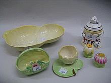 Three items of Carlton Ware, pair of Paragon condiments and a Studio Range preserve pot