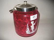 Mary Gregory style cranberry style biscuit barrel with plated mounts