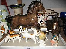 Beswick shire horse, New Forest pony (a/f), duck, pheasant (a/f), three Beswick fox hounds and two geese