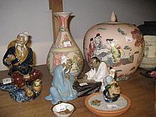 Quantity of various oriental ceramics, including: pottery figures etc