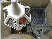 Boxed set of brass balance scales, carved wooden wall applique in the form of a horse's head and a quantity of small glass bottles and various trinket boxes, two lanterns, two magnifying glasses and a box etc