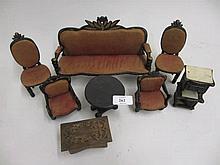 Quantity of Continental ebonised dolls house furniture