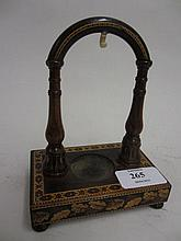 19th Century Tunbridge ware rosewood watch stand inlaid with oak leaf decoration