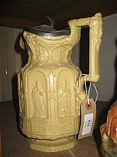 19th Century salt glazed stoneware jug by Charles Meigh, decorated in Gothic style with a hinged pewter lid