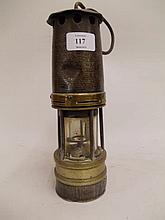 Brass and steel miner's safety lamp