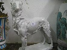 Large Herend white glazed porcelain figure of a Borzoi dog, signed in the base Vastagh Gyorgy, Budapest 1937, 16.75ins high