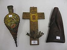 Pair of 19th Century miniature floral and bird painted bellows, crucifix with painted decoration, plated shell dish and an antique carved gun butt (a/f)