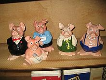 Set of five Wade National Westminster Bank pottery piggy banks