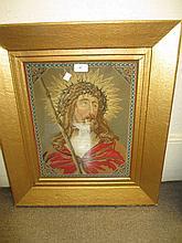 Gilt framed needlework picture, portrait of Christ and a similar maple framed print