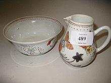 Chinese porcelain jug and basin, painted with flowers and insects