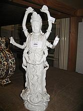 19th or 20th Century Chinese blanc de chine porcelain figure of Quan Yin, 13.5ins high