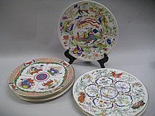 Group of seven modern Royal Worcester plates decorated with early Worcester designs