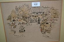 Ink and watercolour drawing, view of Victoria Gate, London W2, signed Drummond
