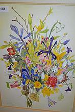 Maureen Jordan, gouache, still life study of leaves and fruit, signed, 29ins x 20ins, gilt framed