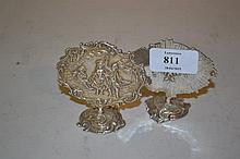 Pair of Continental silver menu holders decorated with classical figures