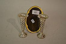 Silver and yellow enamel decorated frame (a/f) and a pair of pierced silver vases
