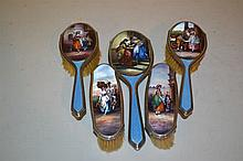 Good quality silver and blue enamel five piece dressing table set with 925 mark decorated with figures of ladies